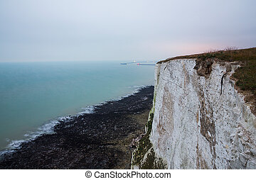 Beautiful view of the White Cliffs of Dover in the evening