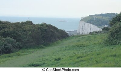 White cliffs of Dover, with ferry - White cliffs of Dover,...