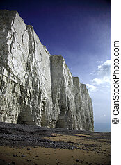 Sheer white cliffs at Birling Gap Beach England