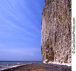 Towering white cliffs against a blue sky