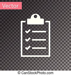 White Clipboard with checklist icon isolated on transparent background. Vector Illustration