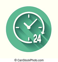 White Clock 24 hours icon isolated with long shadow. All day cyclic icon. 24 hours service symbol. Green circle button. Vector Illustration