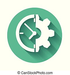 White Clock and gear icon isolated with long shadow. Time Management symbol. Business concept. Green circle button. Vector Illustration