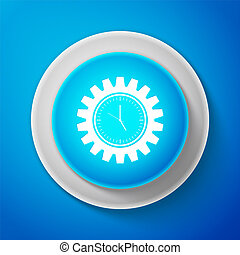 White Clock gear icon isolated on blue background. Time Management symbol. Circle blue button with white line. Vector Illustration