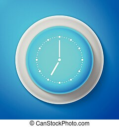 White Clock icon isolated on blue background. Circle blue button with white line. Vector Illustration