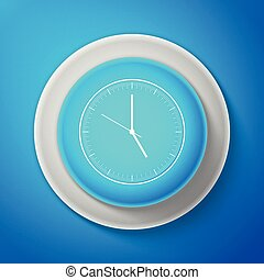 White Clock icon isolated on blue background. Time icon. Circle blue button with white line. Vector Illustration