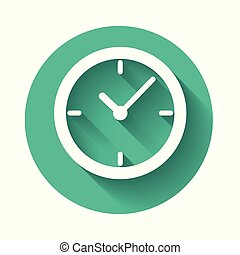 White Clock icon isolated with long shadow. Green circle button. Vector Illustration