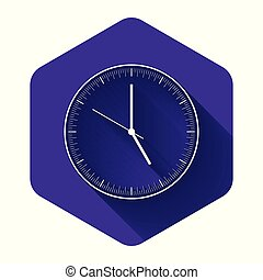 White Clock icon isolated with long shadow. Time icon. Purple hexagon button. Vector Illustration