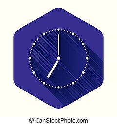 White Clock icon isolated with long shadow. Time symbol. Purple hexagon button. Vector Illustration