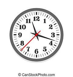 White clock icon, single isolated vector illustration