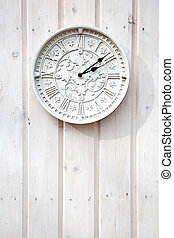 White clock on a wooden wall