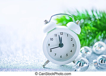 clock - white clock on the white table, christmas background