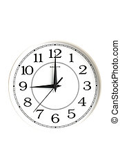 white clock showing nine o'clock isolated