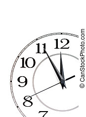 white clock showing time about twelve isolated