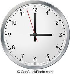 White wall clock. Vector illustration.