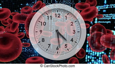 White clock with red blood cells and program codes