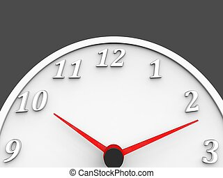 White clock with red dials