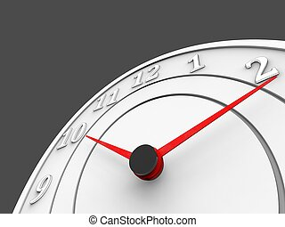 White clock with red dials - time and schedule concept