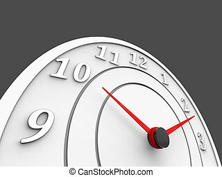 White clock with red dials - time concept