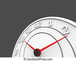 White clock with red dials - time passing concept