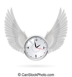 White clock with white wings.