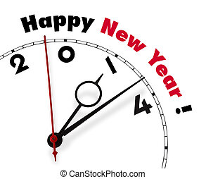 White clock with words Happy New year 2014