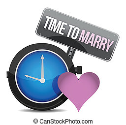 White clock with words Time to Marry illustration design...