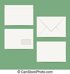 White Closed Blank Envelope Isolated On Background. Mock Up...