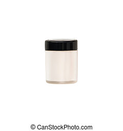 White closed eyeshadows isolated on white