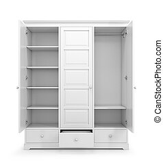 White closet with open doors isolated on white background. ...