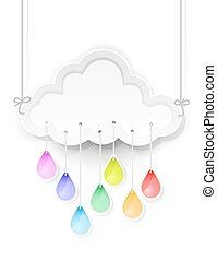 white cloud and rain drops with rainbow colors
