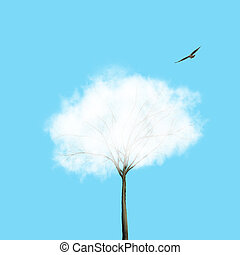 White cloud as a krone of the tree and flying bird on a blue background. Place for text. Ecology background for environment growth and protection.