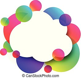 White cloud background with colour bubbles.
