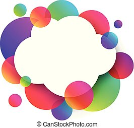 White cloud background with colour circles.