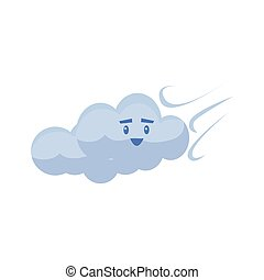 White Cloud Blown AwayCute Childish Style Bright Color...