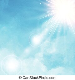 White cloud detail in blue sky with sunshine daylightvector illustration background copy space