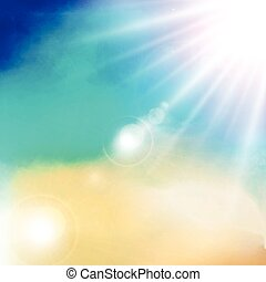 White cloud detail in blue sky with sunshine daylight vector illustration background copy space