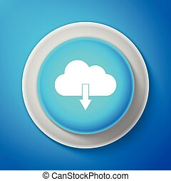 White Cloud download icon isolated on blue background. Circle blue button with white line. Vector Illustration