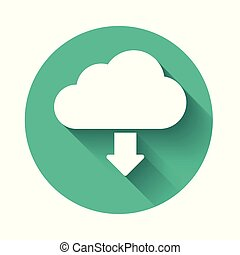 White Cloud download icon isolated with long shadow. Green circle button. Vector Illustration