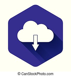 White Cloud download icon isolated with long shadow. Purple hexagon button. Vector Illustration