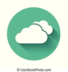 White Cloud icon isolated with long shadow. Green circle button. Vector Illustration