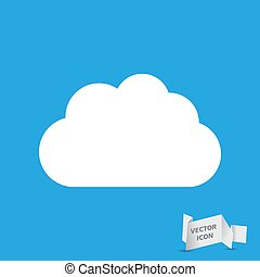 white cloud icon on a blue background