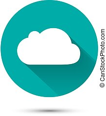 White cloud icon on green background with shadow