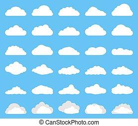 white cloud icon set on blue background