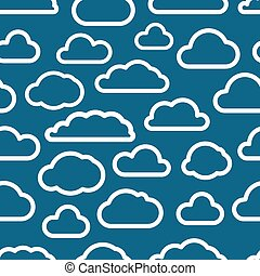 White cloud icons seamless background