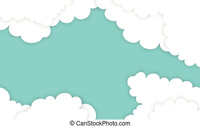 White cloud in paper styles on blue background.