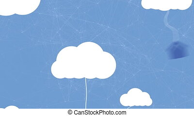 Animation of white cloud icons with dangling home, computer, smartphone, light bulb and tablet computer icons on blue background. Global networking and cloud computing.