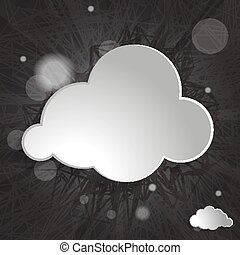 white cloud on a black striped background