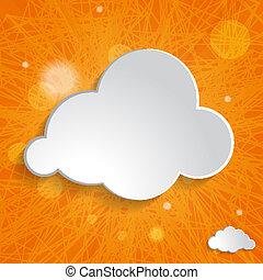 white cloud on an orange striped