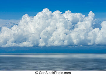 White cloud over the lake with blue sky.
